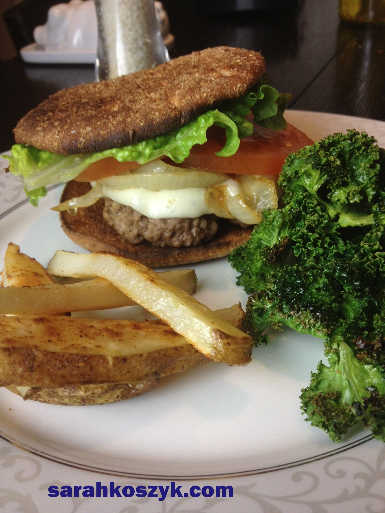 Bistro Burger with Kale Chips & Baked French Fries