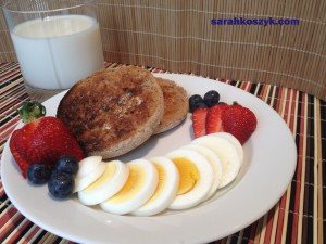 English Muffin Hard-Boiled Egg Fruit