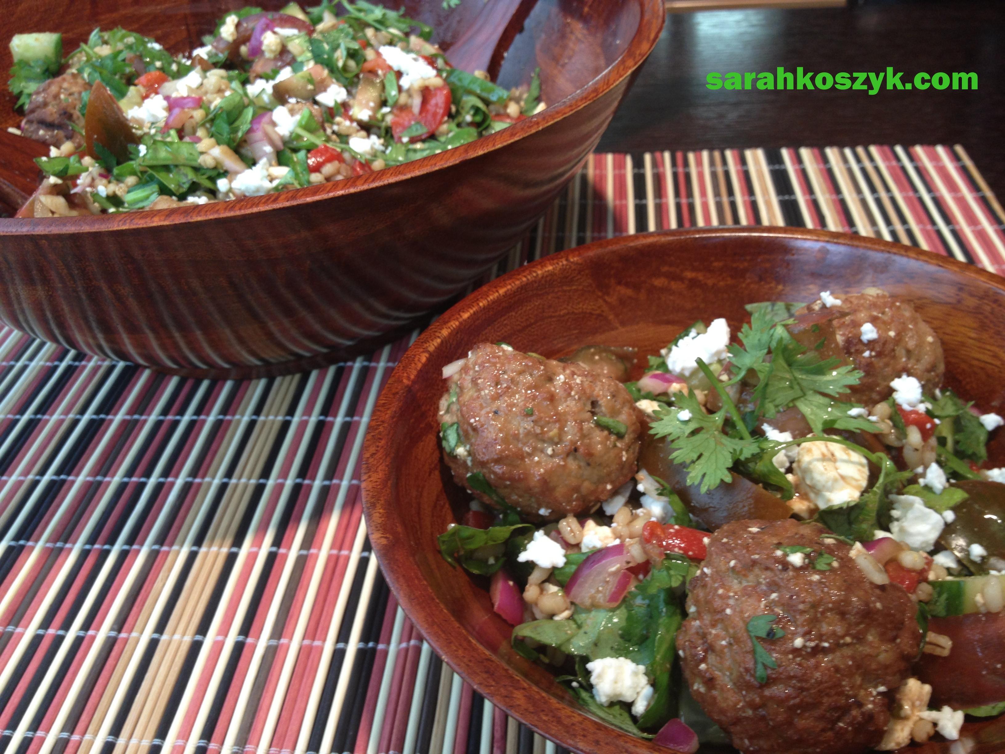 Barley Salad with Turkey Meatballs
