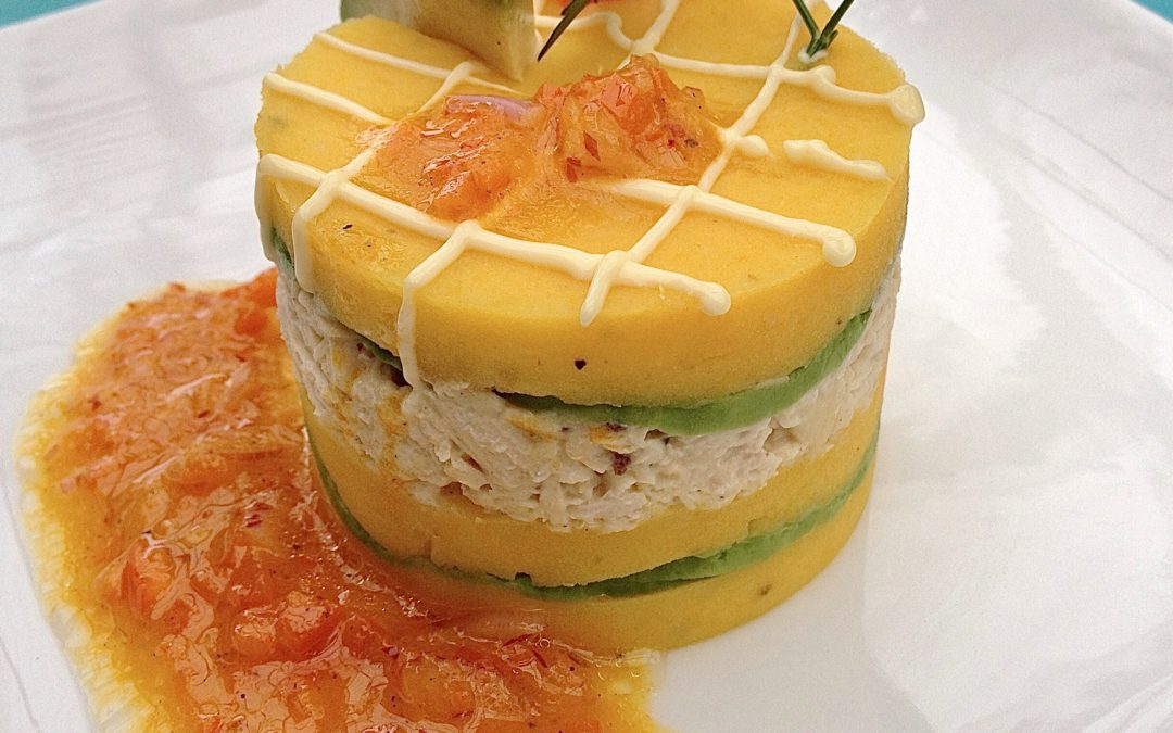 Causa – Peruvian Mashed Potatoes with Chicken and Avocado
