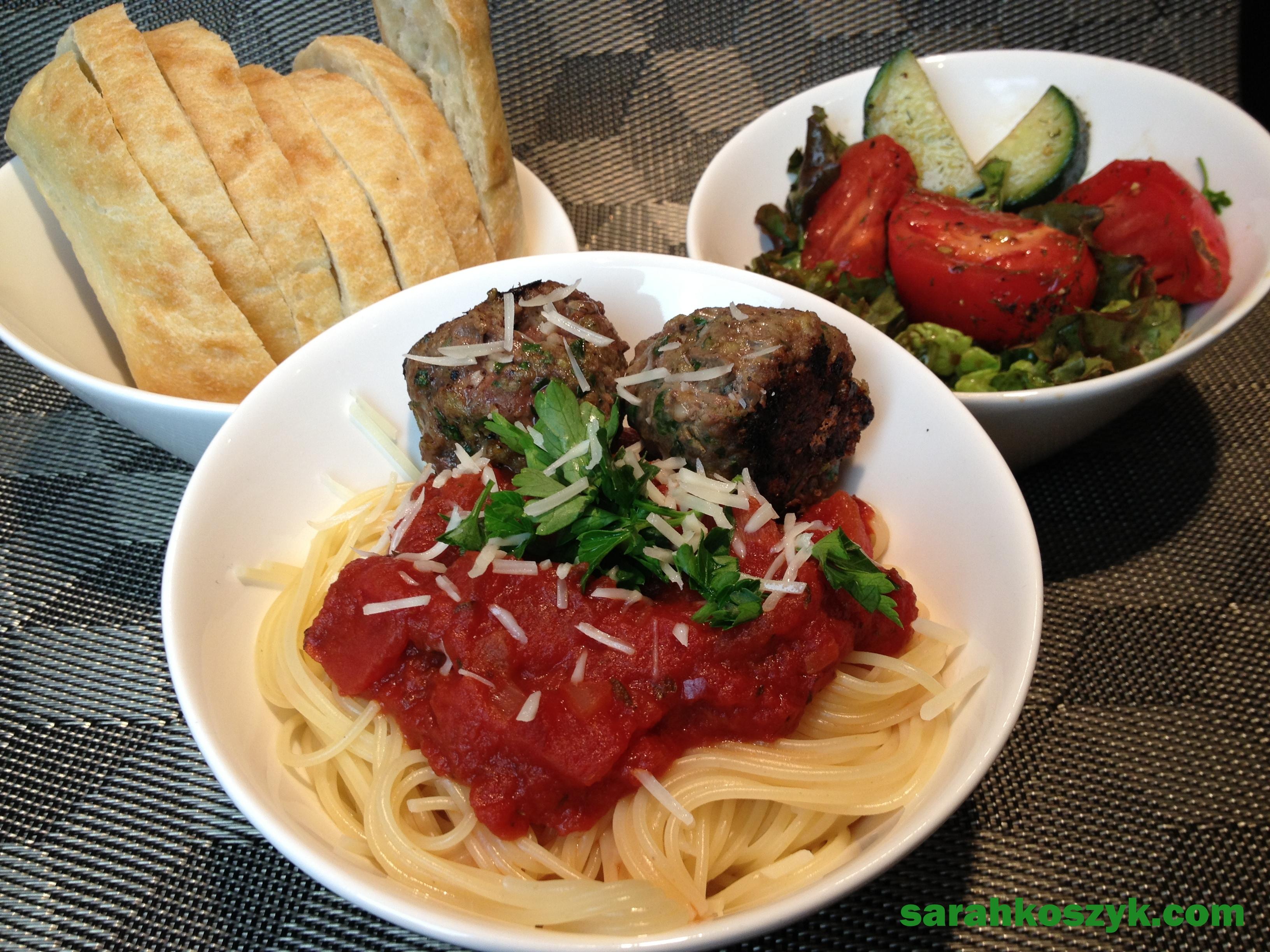 Pasta with Turkey Meatballs and Homemade Marinara Sauce