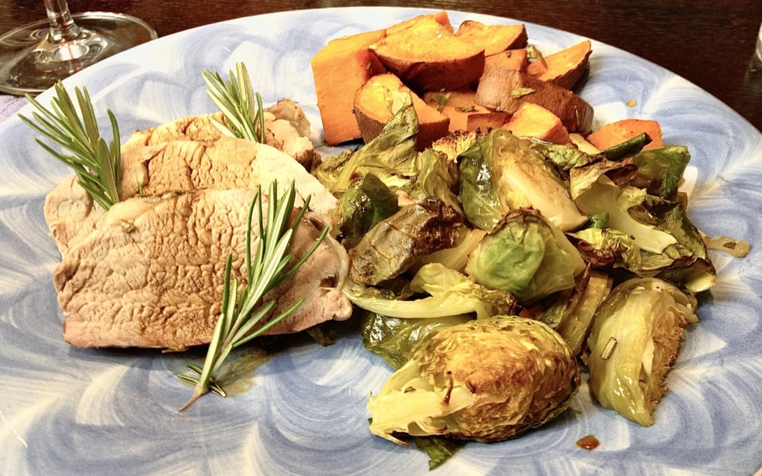 Roasted Pork with Sweet Potatoes & Brussels Sprouts