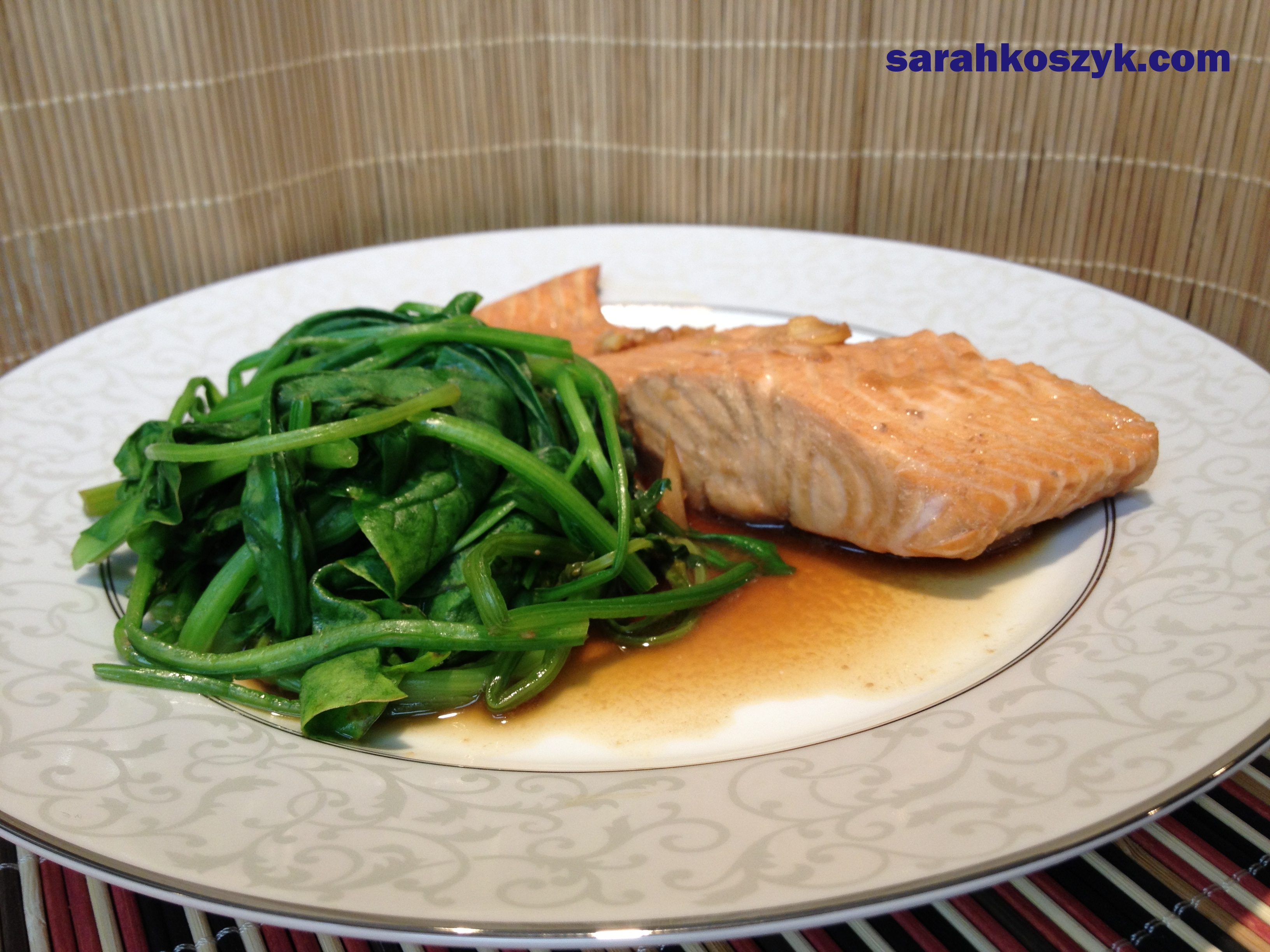Marinated Salmon in Soy Sauce with Sautéed Spinach