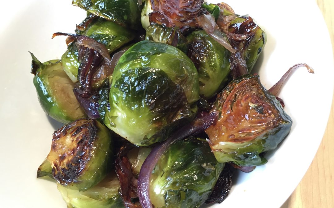 Coconut Oil Caramelized Roasted Brussels Sprouts