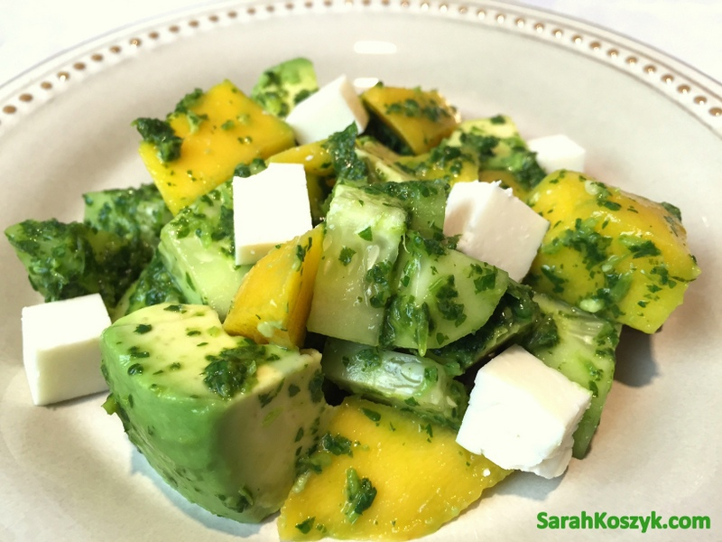 Avocado, Mango & Cucumber Salad with Cilantro-Lime Dressing
