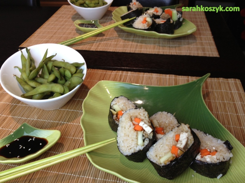 Vegetarian Sushi with Miso Soup & Edamame
