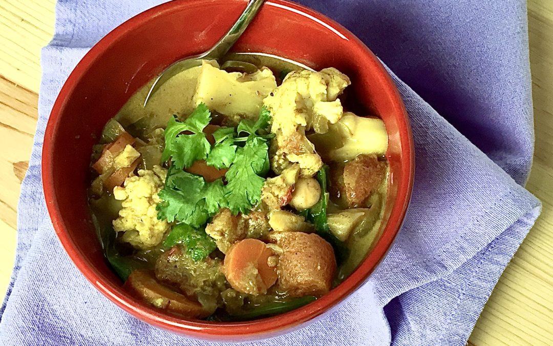 Crockpot Garbanzo Bean & Vegetable Curry Stew