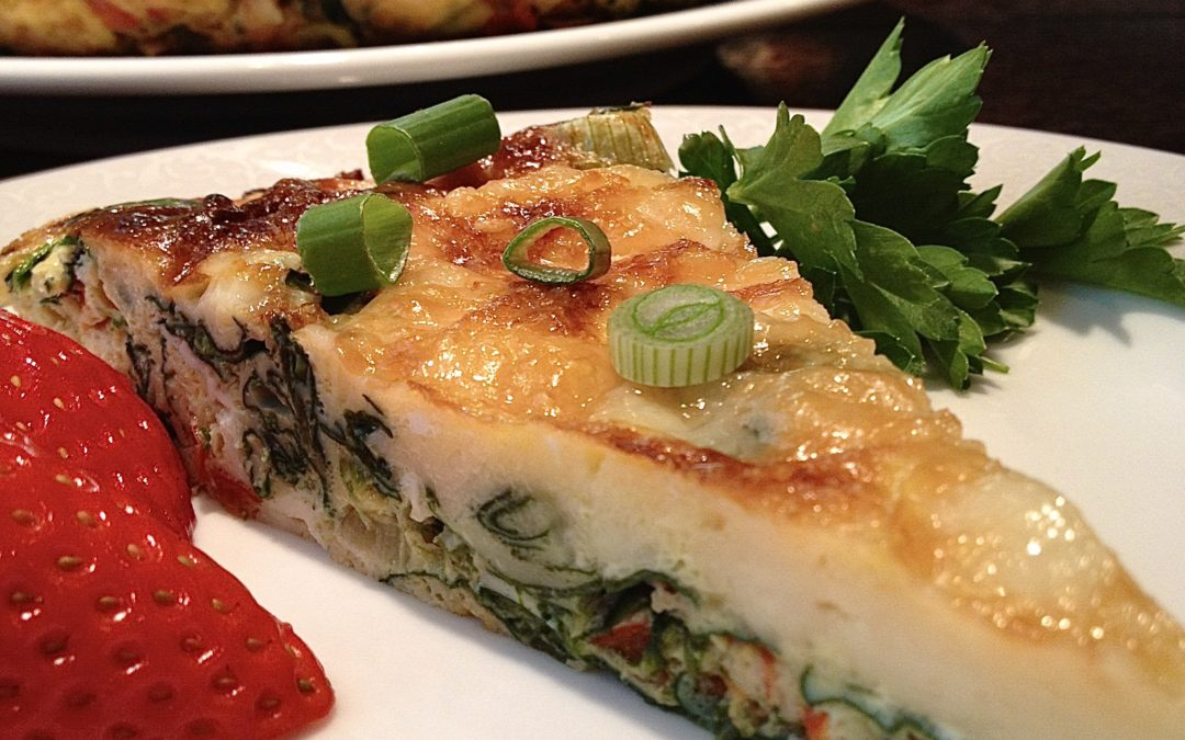 Spinach, Red Pepper, & Cheese Frittata