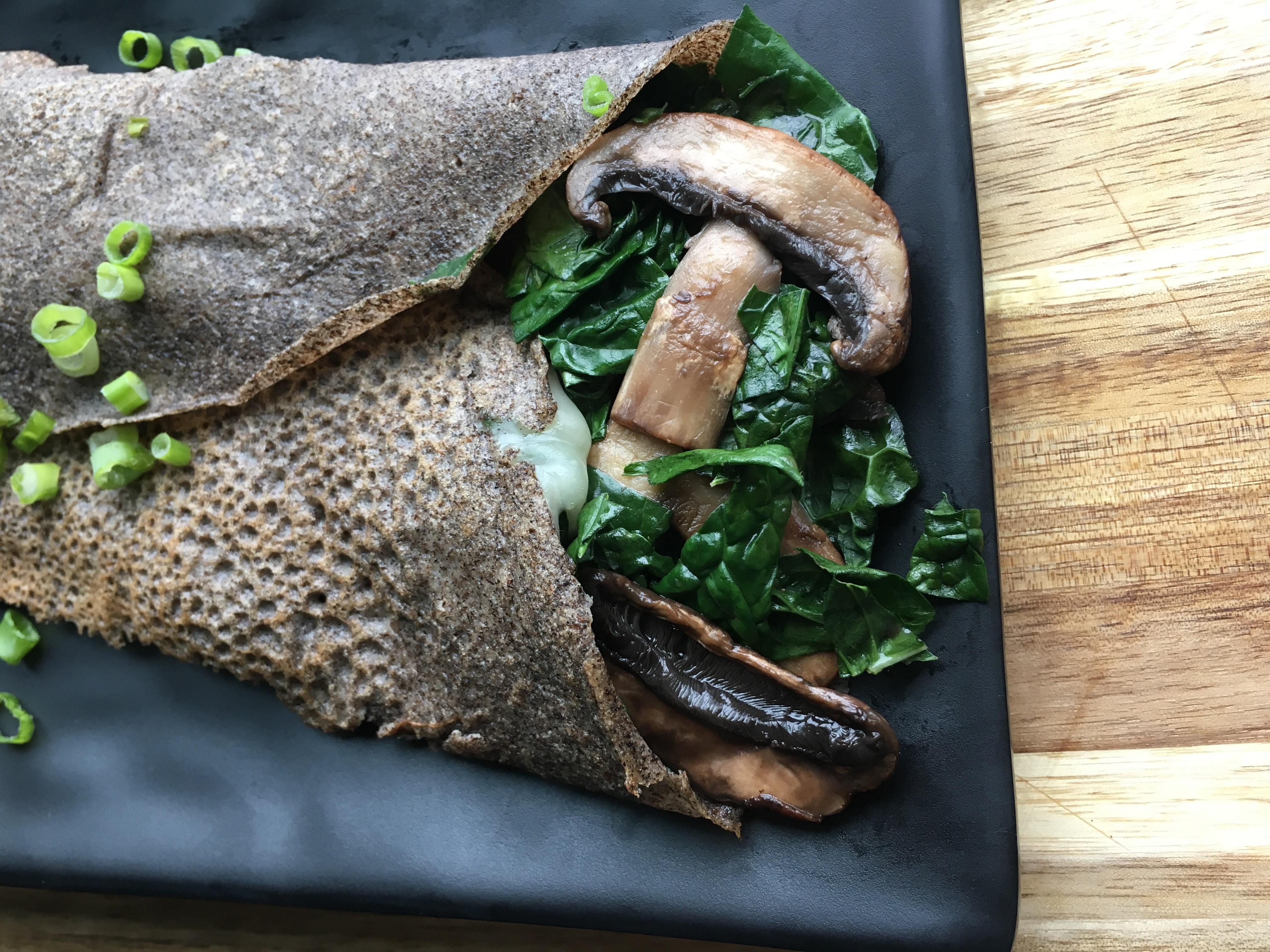 Savory Kale and Mushroom Crepe