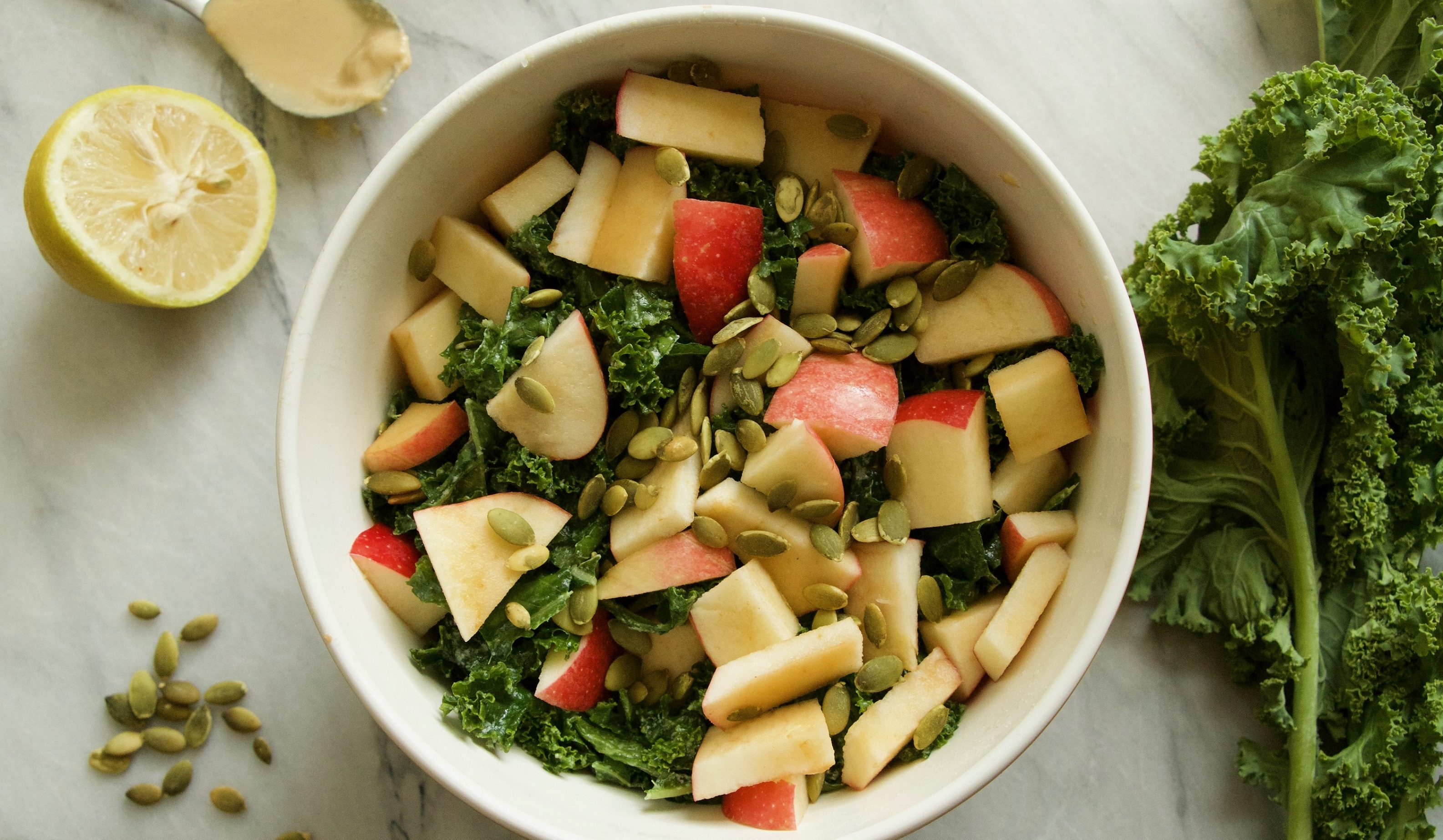 Tahini-Lemon Kale Salad with Apples