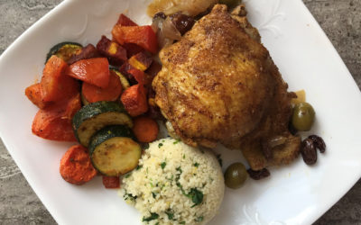 Instant Pot Moroccan Chicken with Roasted Vegetables & Couscous