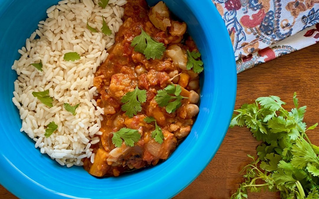 Crockpot Vegan Chickpea, Sweet Potato, and Cauliflower Tikka Masala