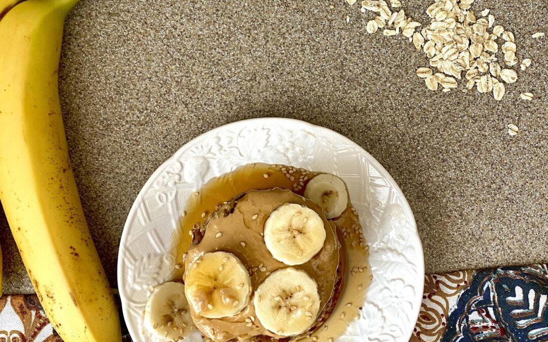 Gluten-Free Tahini Banana Oat Pancakes