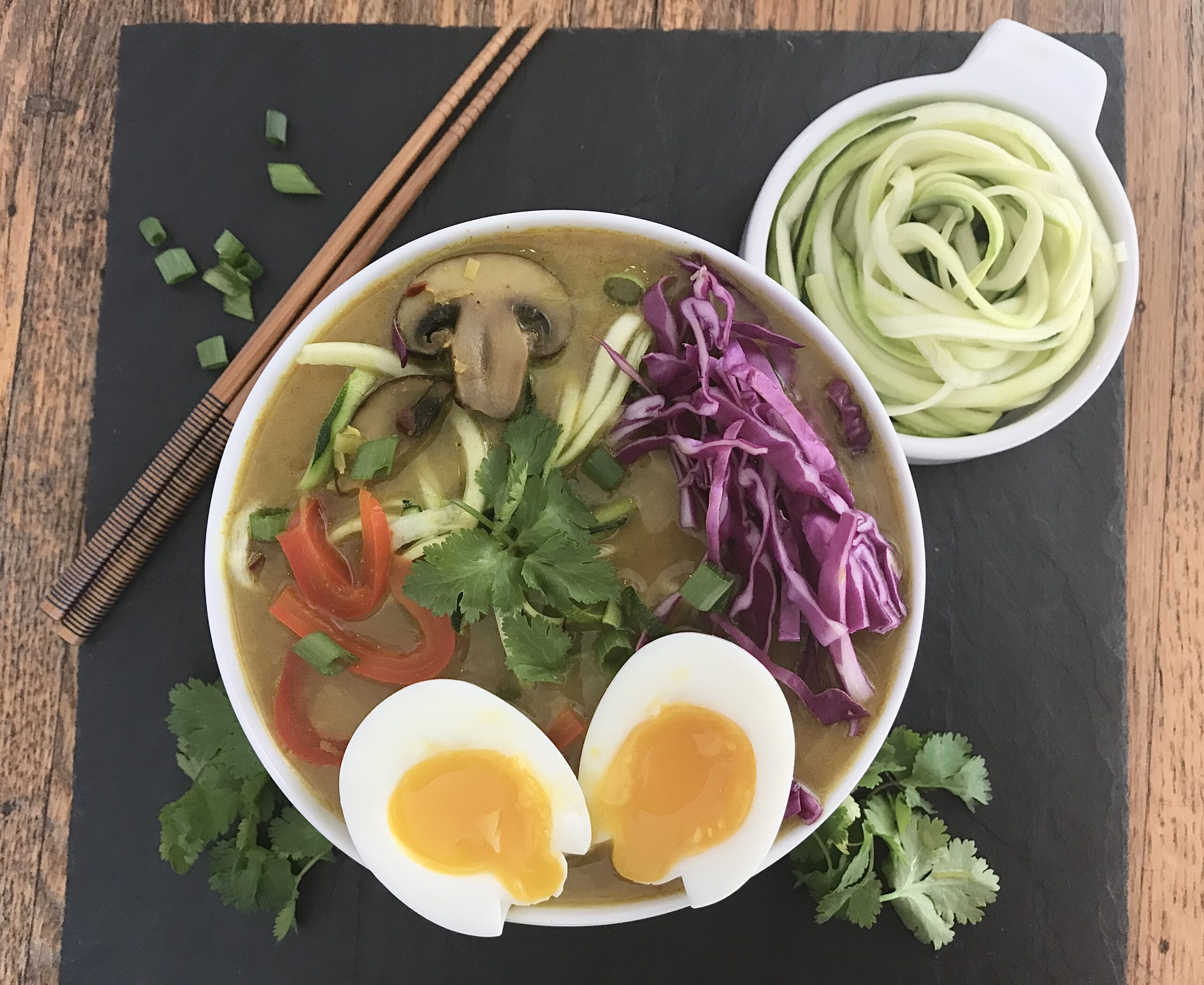 Coconut Curry Zoodle Ramen with 6-Minute Soft-Boiled Eggs