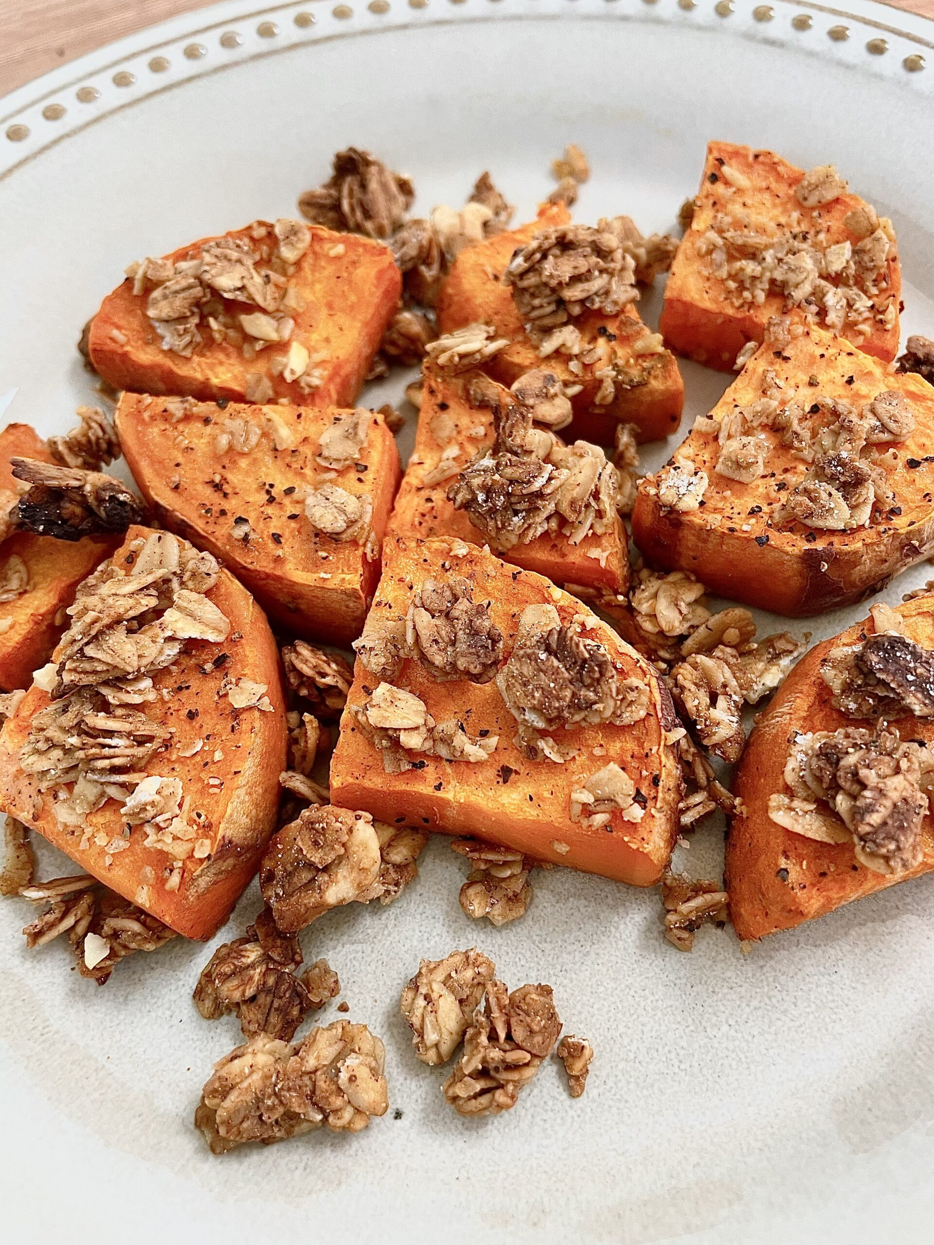 Gluten Free Roasted Sweet Potatoes with Granola