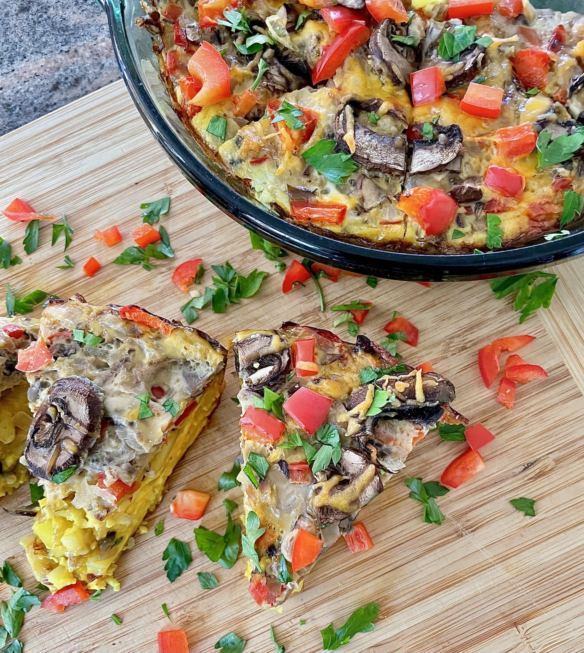 Gluten Free Egg and Mushroom Potato Pizza